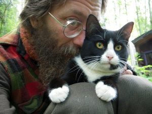 Sylvio: the last photo taken of us together. Of all cats I have known, more like a brother than any.