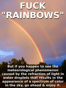 "FUCK ""RAINBOWS"" - But if you happen to see the meteorological phenomenon caused by the refraction of light in water droplets that results in the appearance of a spectrum of color in the sky, go ahead and enjoy it."