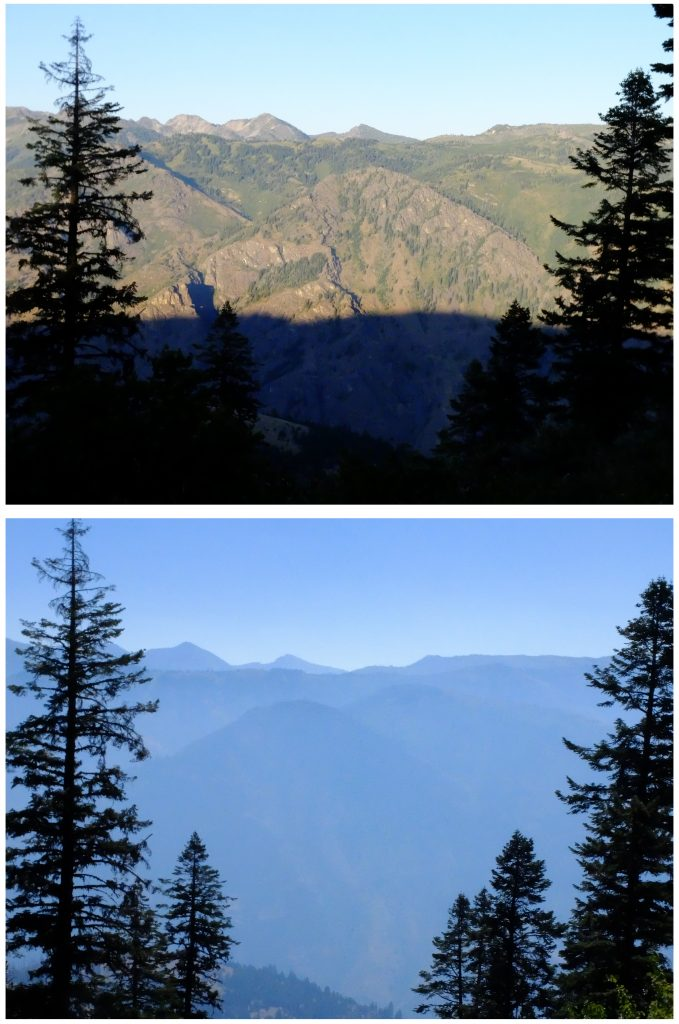 Same view on 7/31/16 and on 8/1/16, as forest fire smoke moves in from Idaho