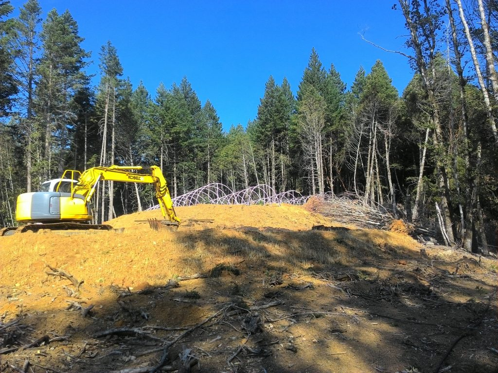 Clear-cut with machine and hooped beds of marijuana, Humboldt County