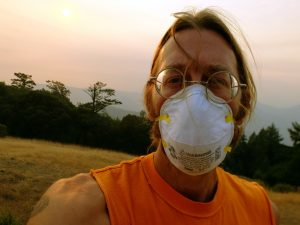 The author with a paint mask for the smoky air