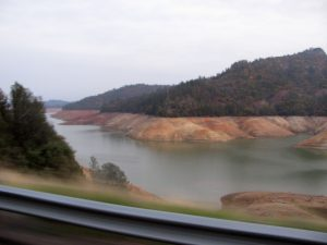 Shasta Lake in northern California, Autumn 2014. Water low from the drought.