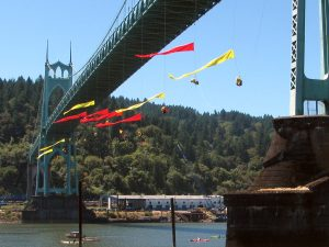 Greenpeace climbers hanging off the St. John's Bridge