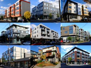 Apartments and mixed-use complexes on Division Street in Portland, Oregon