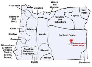 Map of Oregon showing pre-Colonial language groups