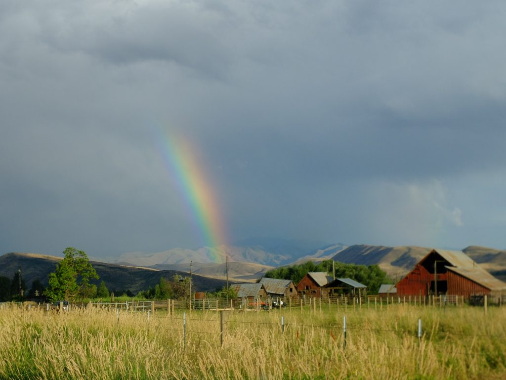 Rainbow and barn outside Halfway