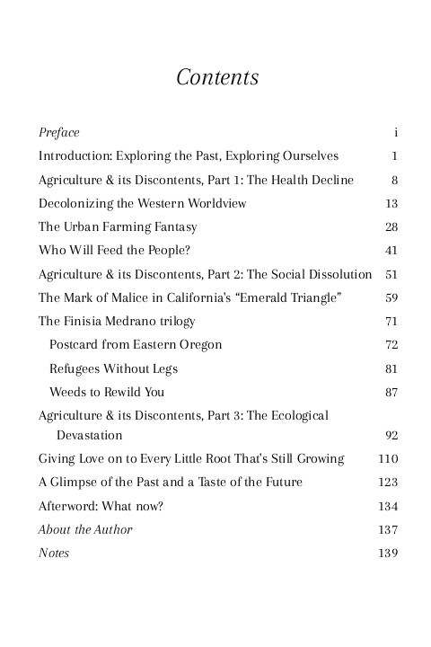 The Failures of Farming & the Necessity of Wildtending, table of contents