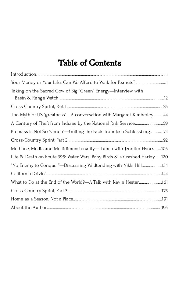 Roadtripping at the End of the World (table of contents)