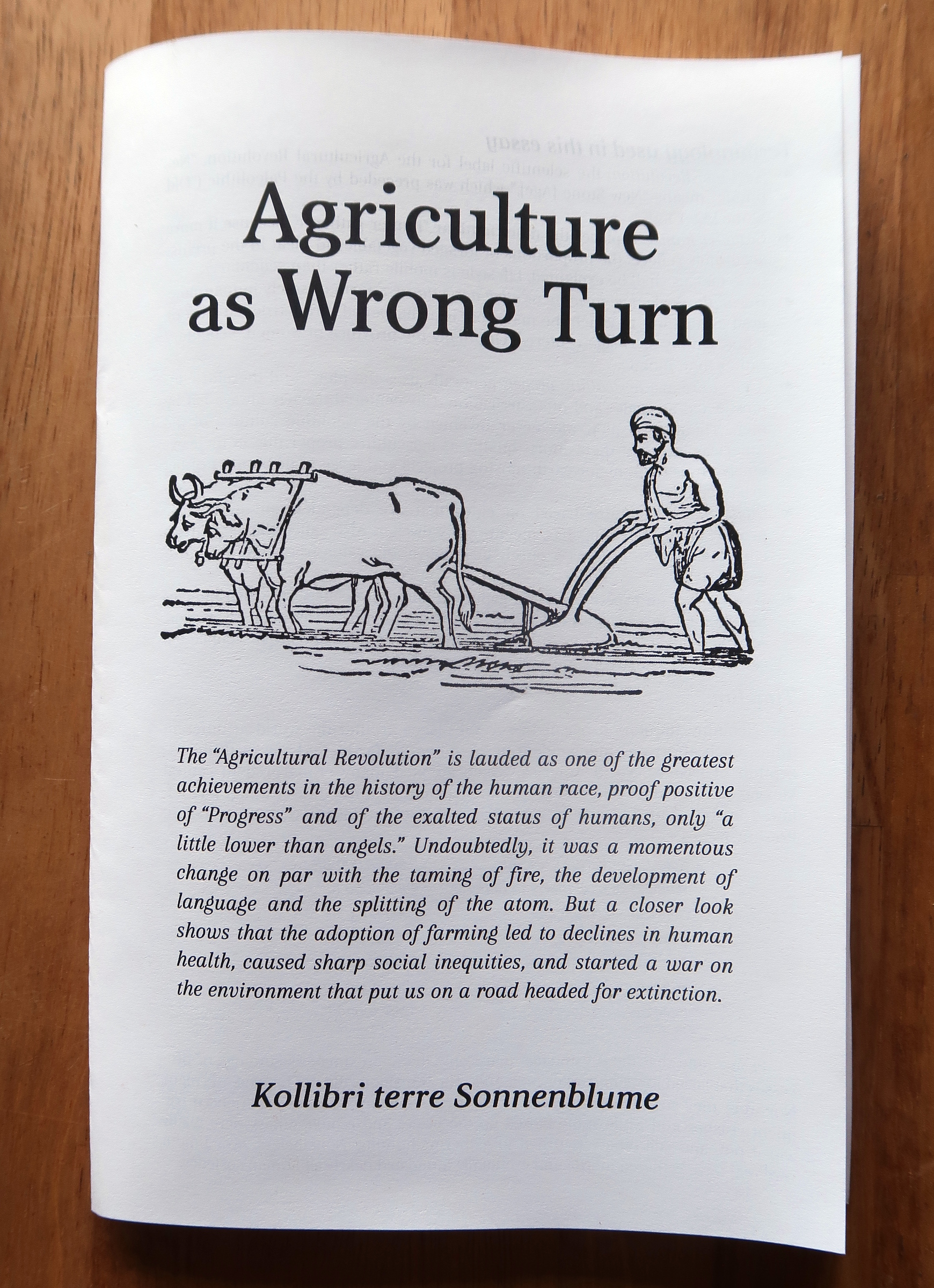 """Agriculture as Wrong Turn"" zine, front cover"