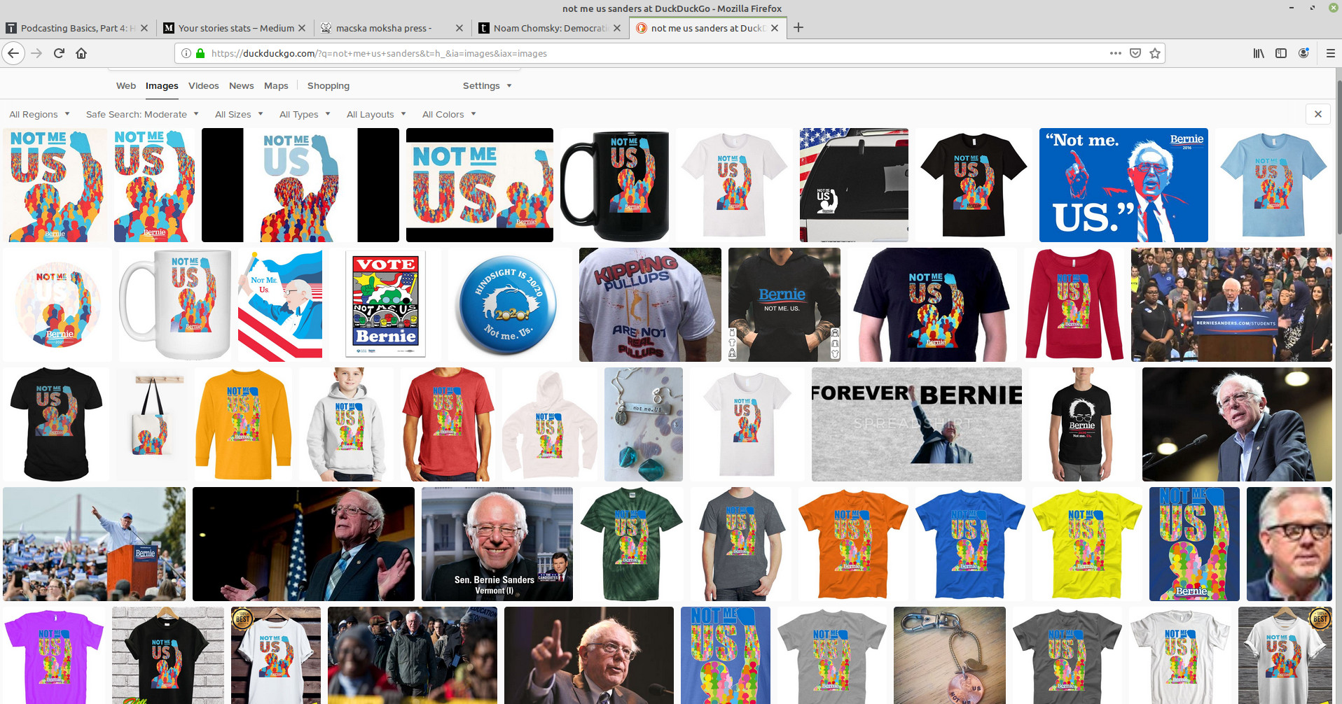 "Sanders ""Not Me Us"" merch"