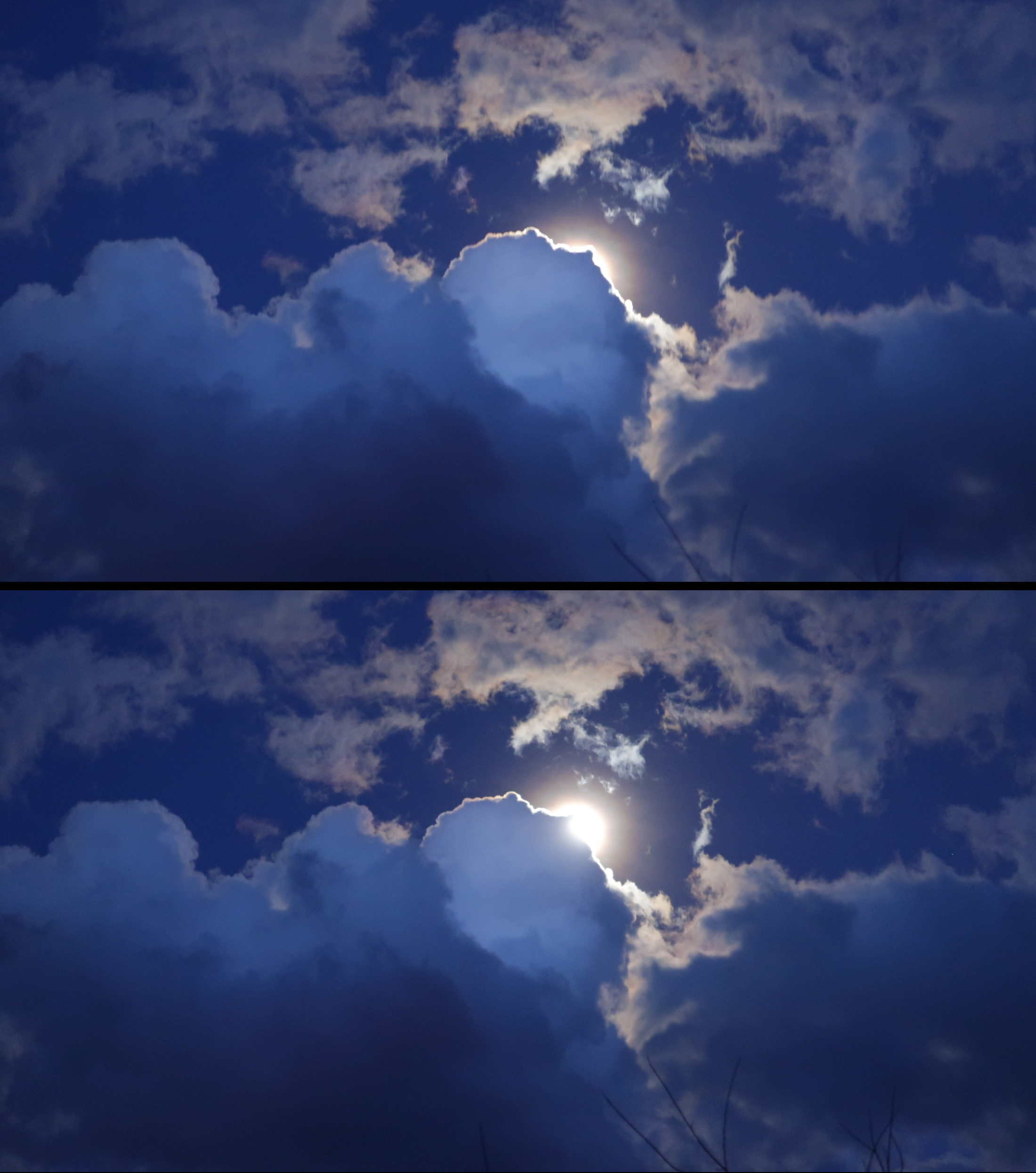 Full moon emerging from clouds in New Mexico, March 2020 (photo by the author)
